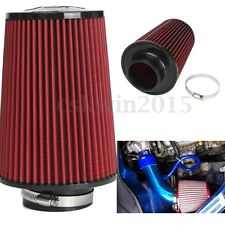 Red 3'' Inch High Flow Car Trunk Racing Cold Air Intake Filter Tapered Cleaner