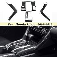 Carbon Fiber Style Center Console Shift Panel Cover Trim For Honda Civic 2016-19