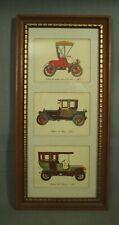 Vintage Enmarcado Estampado Antiguo Coches Madera Cuadro Marco 1913 Packard 1903