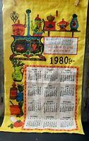 Vintage 1980 Tea Towel Calendar Wall Hanging DISH Coffee Tole Kitchen Prayer