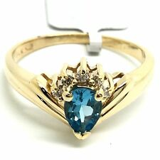 14K Yellow Gold Natural Blue Topaz And Diamond Ring. Birthstone For November