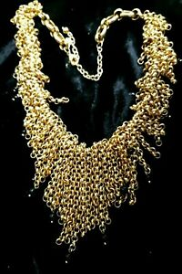 VINTAGE 80s JOAN RIVERS GOLD PLATED CHAINS HEAVY Black Crystal  Choker NECKLACE
