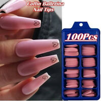 100Pcs Long Ballerina Coffin/Flat French/Stiletto/Almond False Nail/Tips