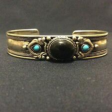 Bijou bracelet Maroc turquoise onyx et métal argenté AL- MAGHRIB