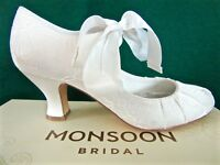 New MONSOON *UK 4* Ivory Lace BETSY Satin Ribbon Bridal Wedding Mary-Jane Shoes