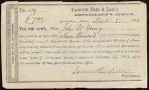 1864 $7000 COLUMBUS MISSISSIPPI DEPOSITARY CIVIL WAR CONFEDERATE STATES PAPER