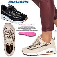 Womens Skechers Uno Wild Streets Memory Foam Cushioned Lace Up Wedge Trainer
