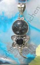 Pendant Flower Blossom Rutile Quartz Grey and Black Onyx Sterling Silver 925