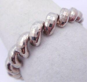 """Estate Signed MILOR Sterling Silver Faceted San Marco Link Bracelet 925 7.5"""""""