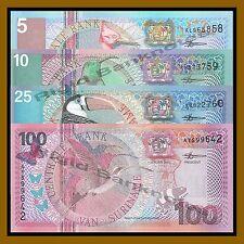 Suriname 5 10 25 100 Gulden 4 Pcs Set, 2000 P-146/147/148/149 Unc