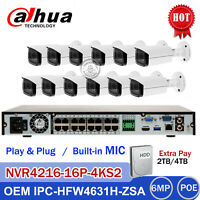 Dahua 4K 16CH POE NVR 6MP MIC Motorized Bullet IP CCTV Camera System Kit lot US