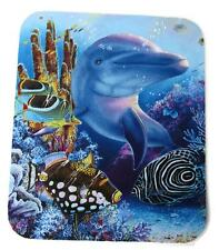 Beautiful DOLPHIN Tropical FISH Underwater Reef~Fabric Mouse Pad Painted Accents
