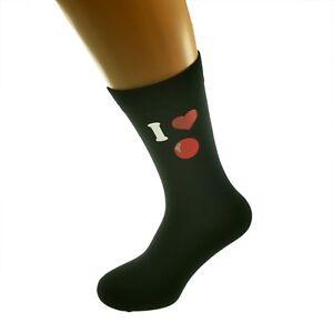I Love Snooker Picture Design Black Socks Adult UK 5-12 Socks X6N281