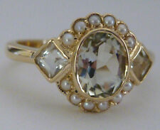 HUGE 9ct SOLID Gold VINTAGE Insp NATURAL Green Amethyst & Pearl Ring R19