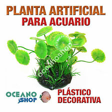 PLANTA ARTIFICIAL VERDE 18CM DIÁMETRO DECORACIÓN ACUARIO PECERA PLÁSTICO D93