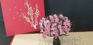 3D Pop Up Cherry Blossoms Greeting Card.(Birthday, Anniversary, Get well, Thanks