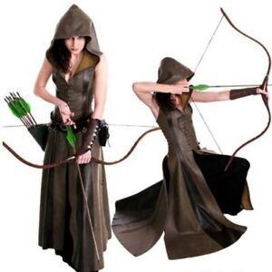 Medieval Ranger Elf Leather Hooded Robe For Women Assassin Robin Cosplay Dress