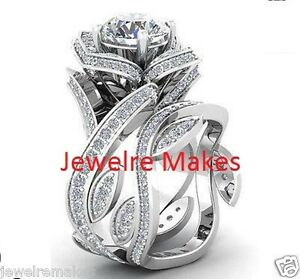 5.25ct Floral Flower Wedding Engagement Ring Set Love Her In 925 Sterling Silver