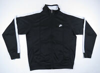 Nike Men Black And White Sewn Spell Out Swoosh Full Zip Track Jacket XL