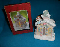 Porcelain Hand Painted Snow Angel Church Tea Light Candle Holder - NEW in Box
