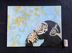 LARGE -Banksy-Beats By Darwin- Original Work Signed W/ COA-CANVAS-MynBender