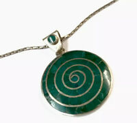 """Vintage 950 Silver Green Malachite Pendant 19"""" Chain Necklace GIFT BOXED"""