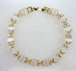 Fashion White Opal Beads 18KGP Crystal Link Clasp Women Girl Bangle Bracelet