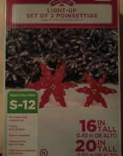 Holiday Time LIGHT UP SET OF 2 POINSETTIAS