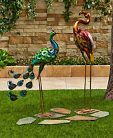 Colorful Metallic Bird Rooster Owl Peacock Flamingo Garden Statue Outdoor Decor