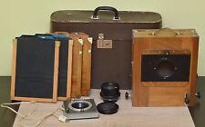 Vintage FKD 18x24cm Wooden Camera with Industar-37 Lens, 4x Cassettes & Shutter!