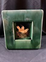 McCoy Square Planter Vase Green bird 1950's Arcature Midcentury Modern Square