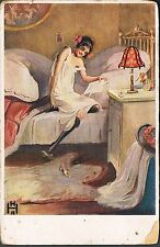 FRENCH GLAMOUR POSTCARD YOUNG WOMAN WITH STOCKINGS READS A LOVE LETTER C1912
