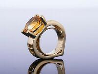 moderne Herz Ring - mit XL Citrin - individueller Hingucker - Gold 585 massiv