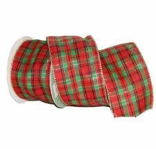 Christmas Bonnie Tartan Organza Fabric Ribbon - 9m Roll