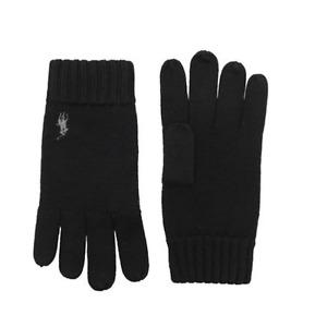 RALPH LAUREN mens 100% Luxury Merino Wool Black GLOVES pony logo mans