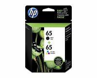 2 Packs HP 65 Black & Tri-color Original Ink Cartridges