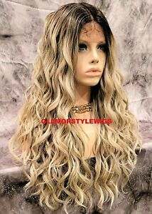 HUMAN HAIR BLEND 3 WAYS PART LACE FRONT FULL WIG LONG OMBRE BROWN ASH BLONDE NWT