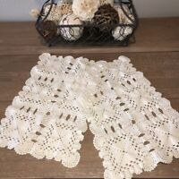 """Vintage Hand Crocheted Doilies Placemats Set of 2 Scalloped Edges 9.5x15.5"""" EUC"""