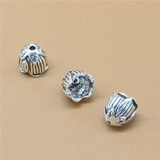6 Sterling Silver Lotus Flower Bead Caps Bead Cones for Tassel 925 Silver
