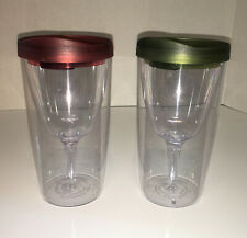 Two Plastic Travel WINE GLASSES with Sippy Cup Lids 8oz 6.5 Inches Tall  Vino2Go