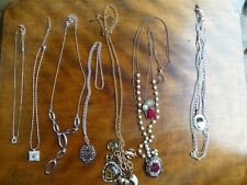 7x NECKLACES with Charms HEARTS SPARKLY
