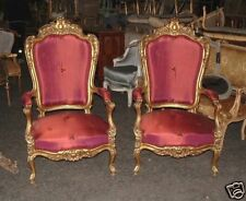 19th Period Gilt Rococo fauteuils Chairs ~ Scalamandre Silk Damask~ Arm chairs