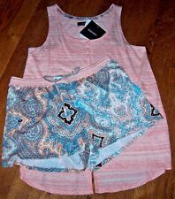 NWT Ellen Tracy ARTSY Peach Split-Back Top/Aqua PAISLEY Shorts Pajama Set L SOFT