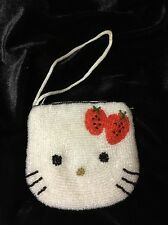 HELLO KITTY COIN PURSE WHITE SEQUIN RED BOW ZIPPERED