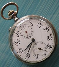 Angelus Alarm Pocket Watch open face silver case 51 mm. in diameter