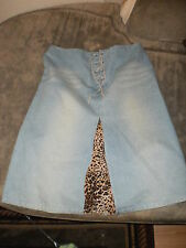 CLIO,woman's straight w/animal print pleat, pale blue denim w/lace-up skirt,sz 6