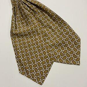 Unbranded Mens Cravat- White with Tonal Yellow Paisley Design