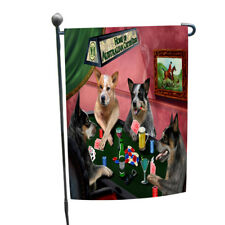 Home of Australian Cattle 4 Dogs Playing Poker Garden Flag