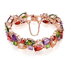 Mona lisa Rose Gold Plated Natural Morganite Amethyst Peridot Chaming Bracelets