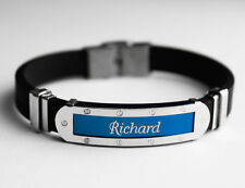 RICHARD - Mens Silicone & Blue Name Plate Engraved Bracelet - Jewellery Gifts